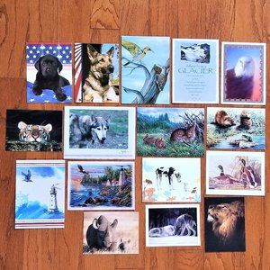 Greeting Card Lot Blank Inside Nature Animals